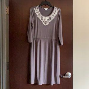 Size 10 Boden Gray & White Midi Dress